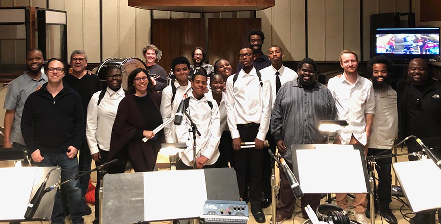 Germaine Franco with the Children of Production Drumline for Universal Pictures' Little