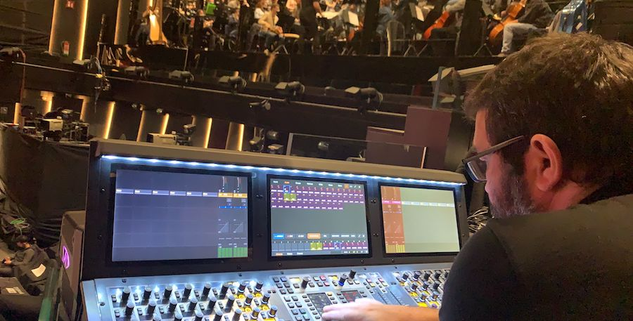 in the sound booth during the Goya Awards
