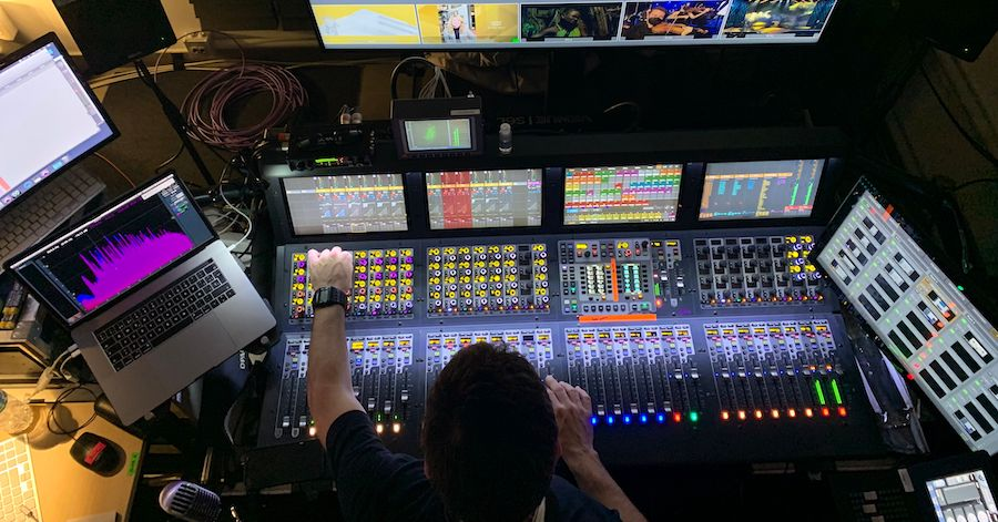overhead view of live sound mixing console
