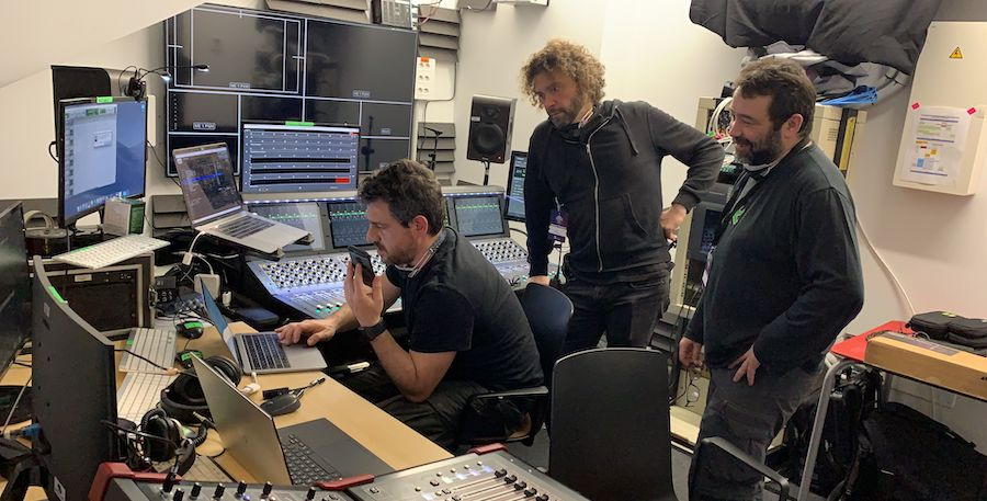 sound engineer Roc Mateu Trias prepares for the Goya Awards