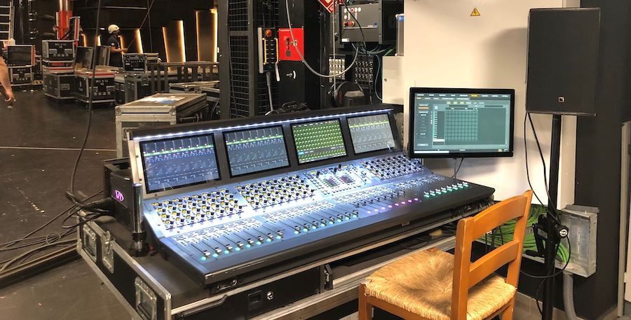 view of live sound console from Goya Awards