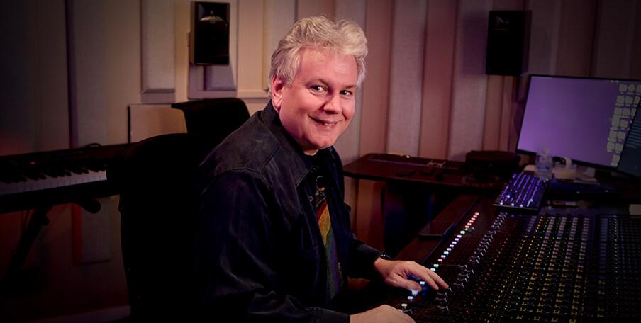 Jonathan Wales at the mixing console