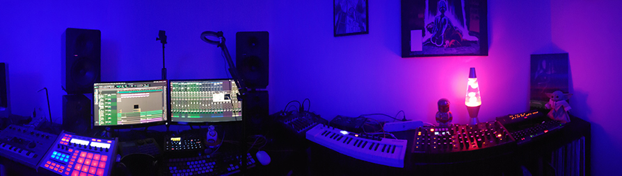 panorama shot of gear in Laz Casanova's studio