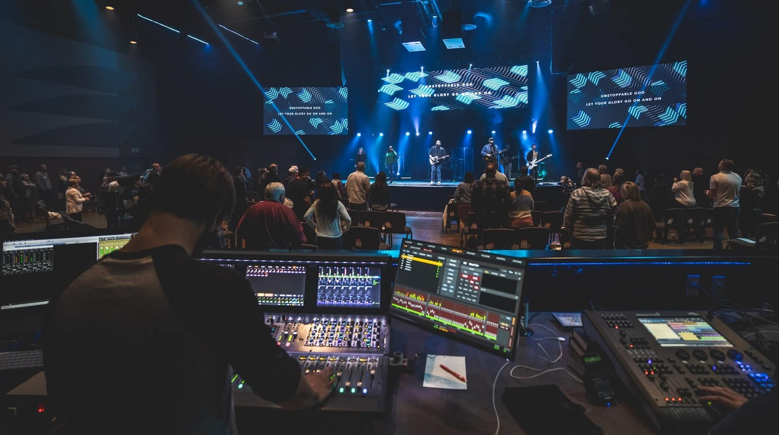 view of Shelter Cove Community Church service from sound booth