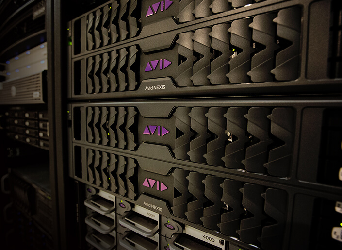 Stack of Avid NEXIS shared storage engines