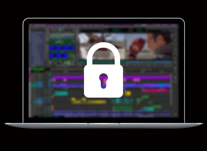 Large padlock icon displayed on the Media Composer screen on a laptop