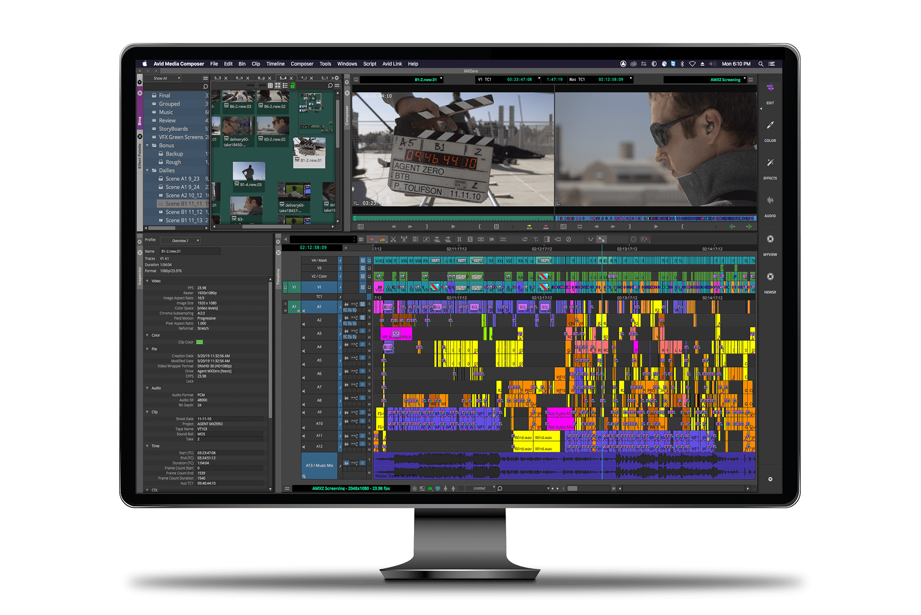 Media Composer Ultimate video editing software UI in monitor