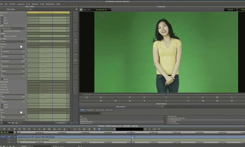 Green screen keying software in Media Composer editing tool