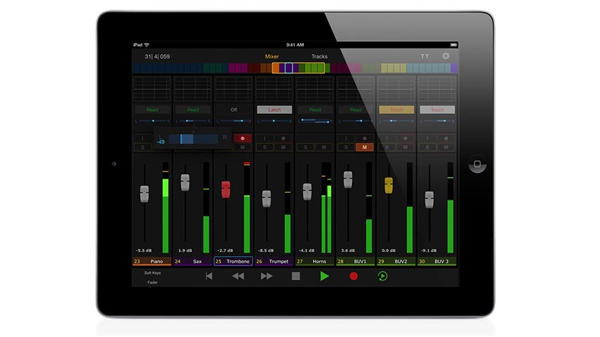Free Avid Control mobile app displayed on an iPad and available for iOS and Android devices