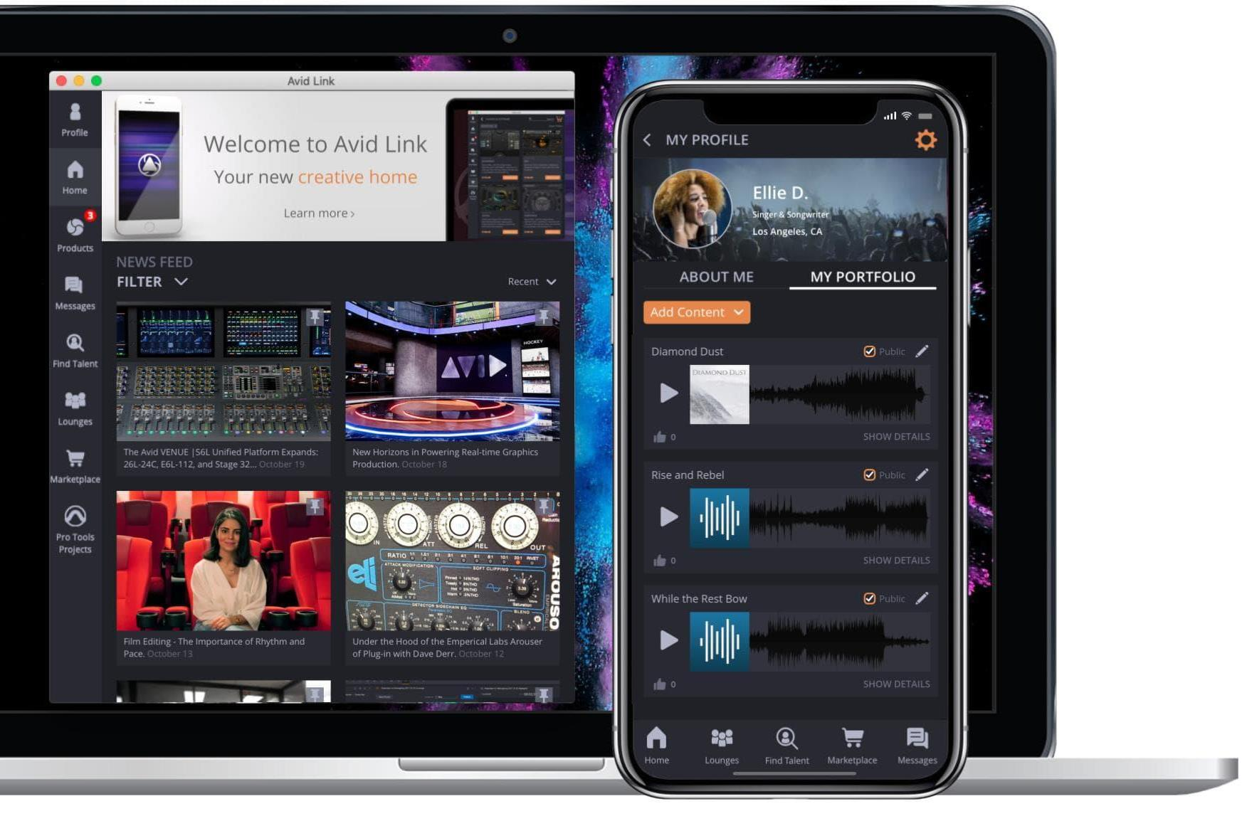 Avid Link interface displayed on a laptop and smartphone for music collaboration