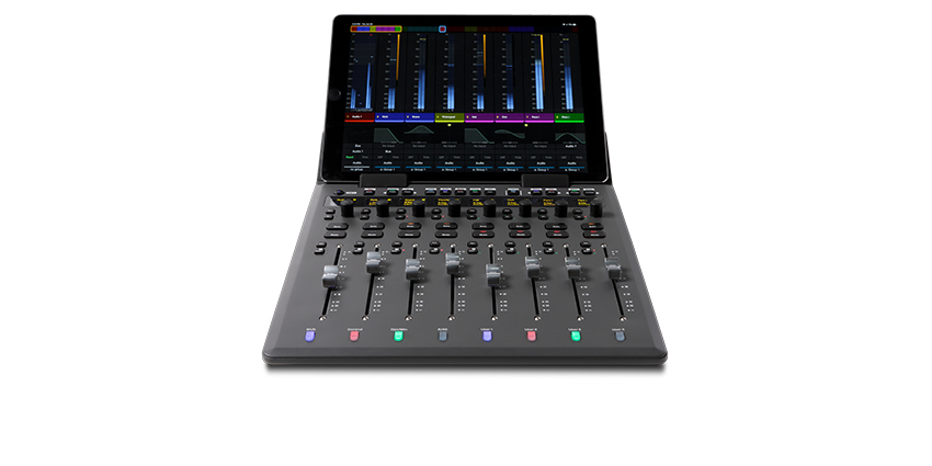 Avid S1 8-fader slimline control surface integrated with the free Avid Control app on a tablet