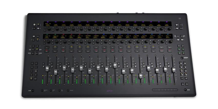 Avid S3 16-fader compact control surface with built-in 4-input, 6-output audio interface
