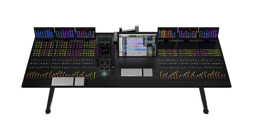 Flagship Avid S6 large-format, fully modular control surface showing a custom configuration with 48 faders, nine Knob Modules, and six Display Modules