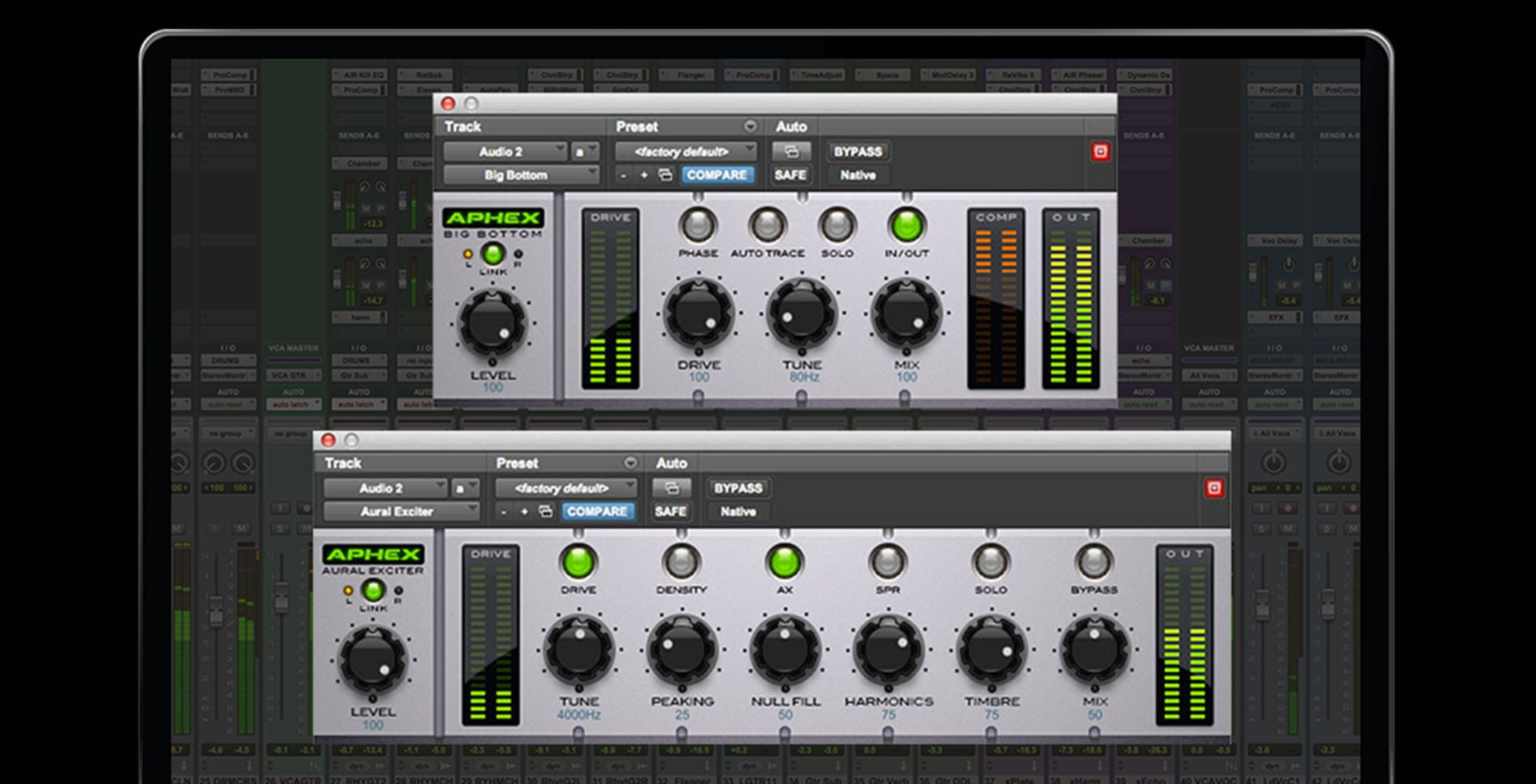 Laptop screen showing Aural Exciter and Big Bottom Pro plugin