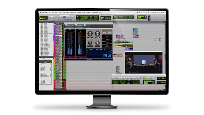 Pro Tools | Video Satellite interface on computer display showing a Pro Tools surround mix synced with a Media Composer video sequence