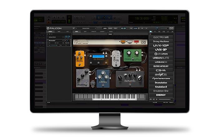 Interface UVI Falcon mostrando sete efeitos de stompbox virtuais em uma tela de computador