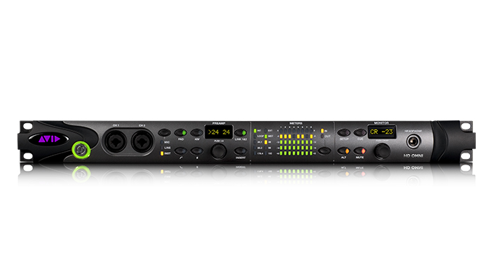 Pro Tools | HD OMNI audio interface front panel with two XLR combo inputs, 8-channel metering, and monitor controls