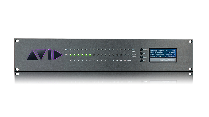 Pro Tools | MTRX audio interface front panel with signal LEDs and display screen