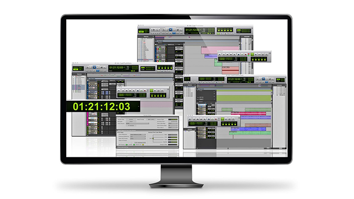 Photo illustration of Pro Tools | Satellite Link showing three Pro Tools software interfaces synced to timecode and controlled by a single workstation