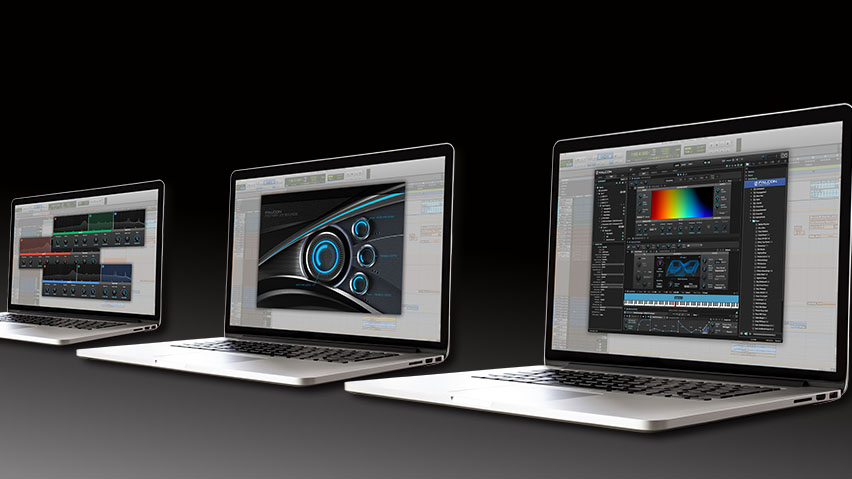 Three laptop computers in an angled row, showing different UVI Falcon interfaces on their displays