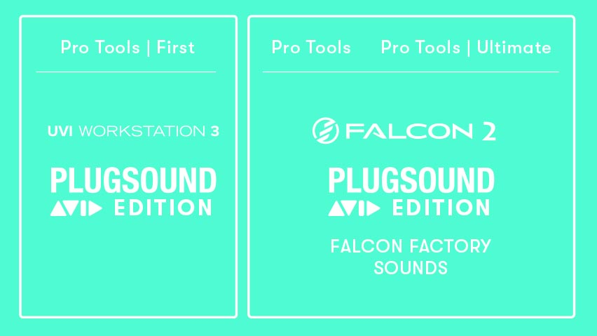 Table showing what UVI music software and sounds are included in Pro Tools | First, Pro Tools, and Pro Tools | Ultimate