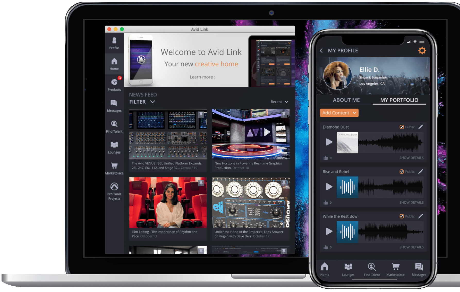 Avid Link creative community free app showing the homescreen on a laptop and a profile portfolio page on a smartphone
