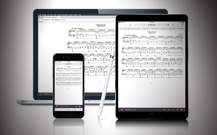 Smartphone, tablet, and computer monitor display showing the same music notation software score on their screens
