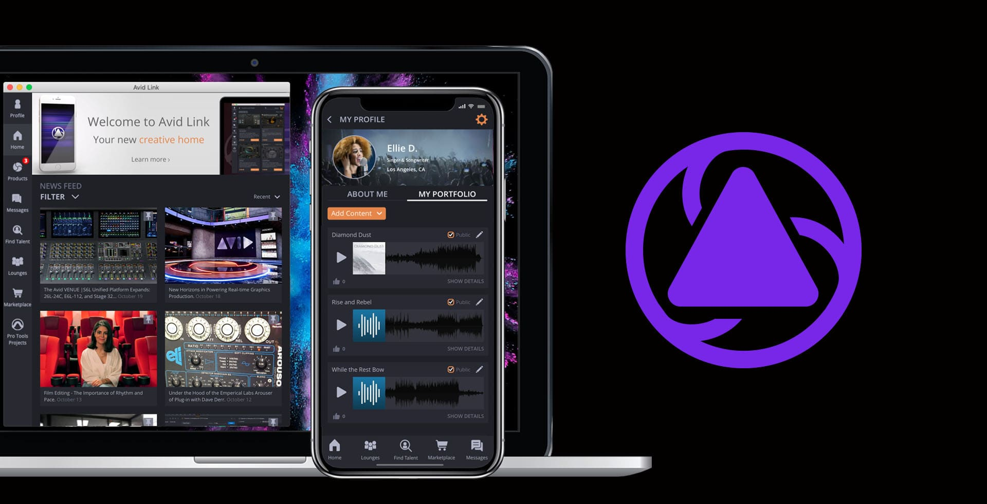 Smartphone and laptop with image of Avid Link free networking app next to purple logo