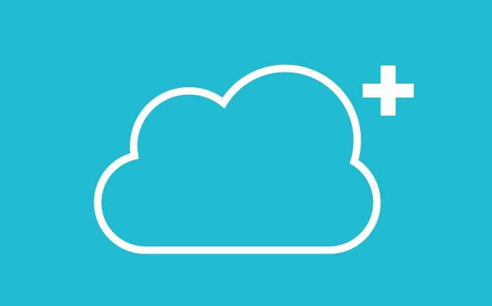 Avid Premium Cloud Plans logo showing a simple line drawing of a cloud with a plus sign next to it