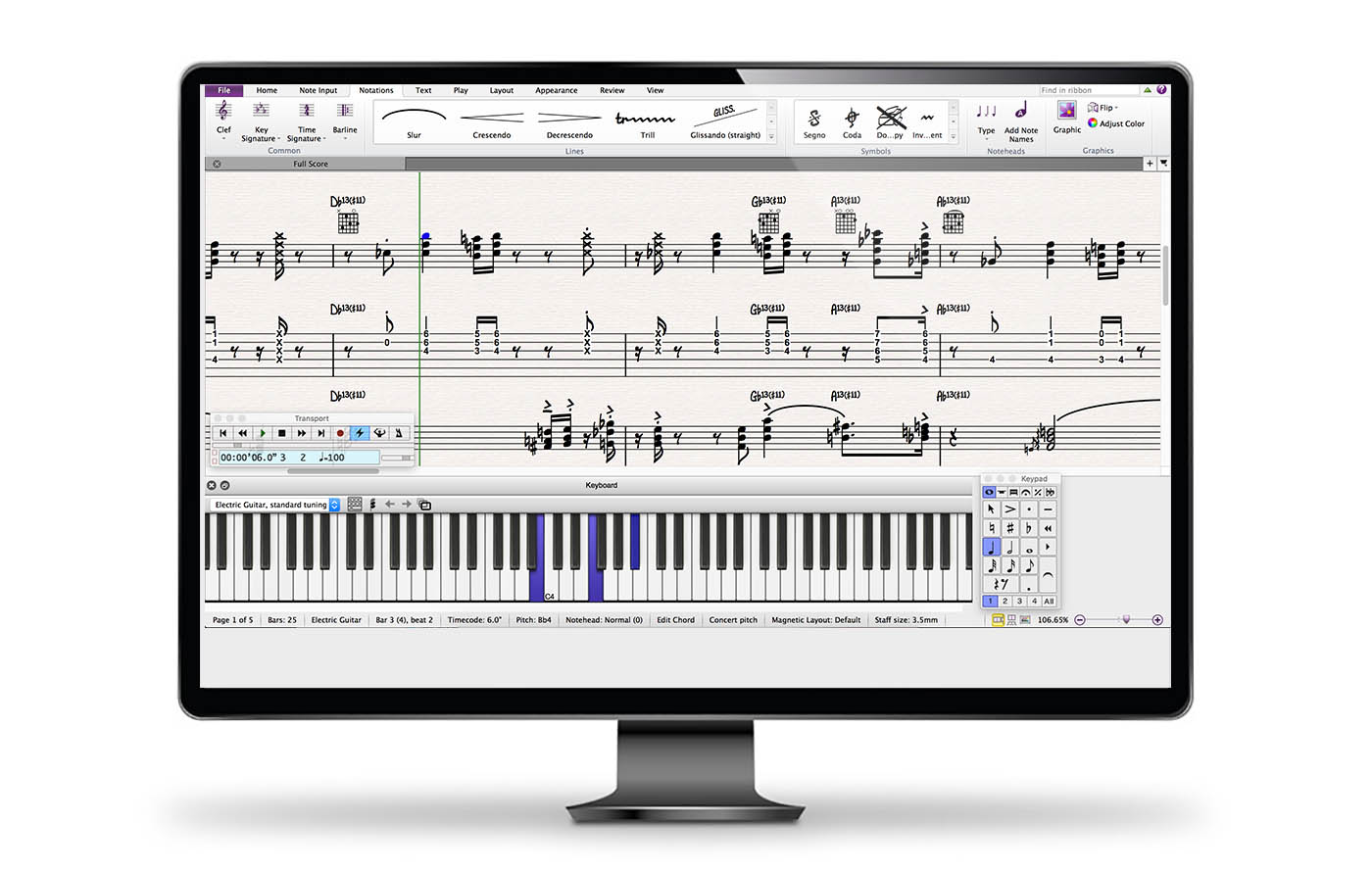 Sibelius music notation software in monitor