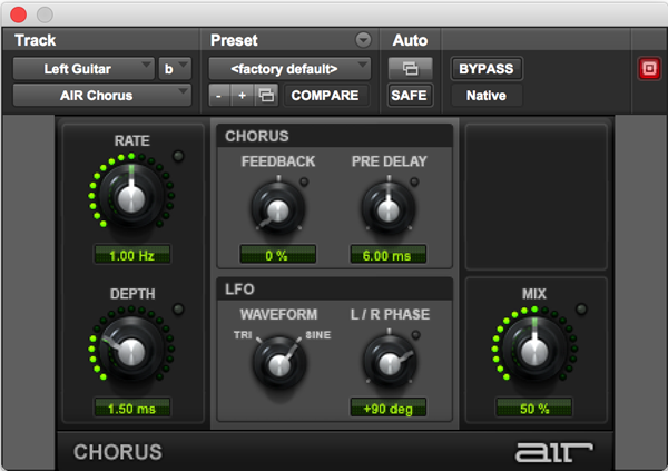 AIR Chorus effects audio plugin for Pro Tools