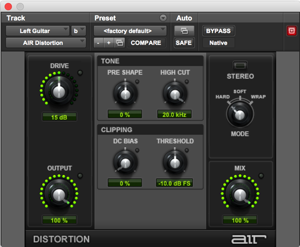 AIR Distortion audio and effects plugin for Pro Tools