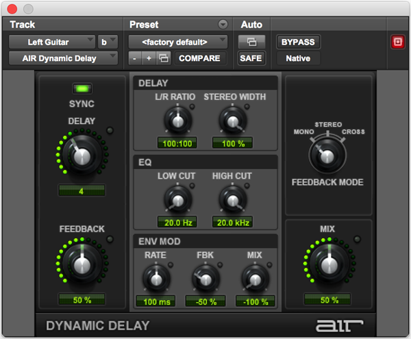 AIR Dynamic Delay effects audio plugin for Pro Tools