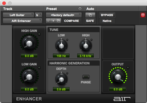AIR Enhancer frequency plugin for Pro Tools