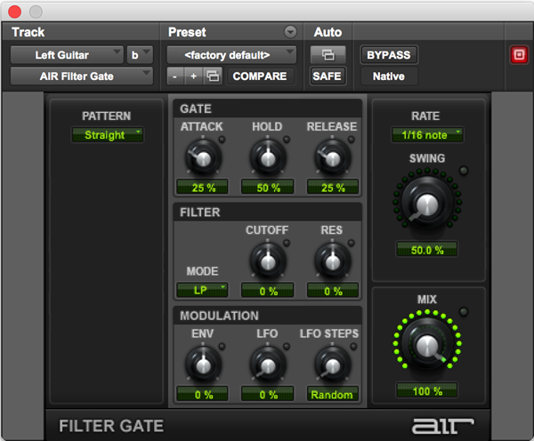 AIR Filter Gate rhythmic pattern audio plugin for Pro Tools