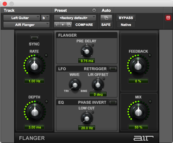 AIR Flanger effect plugin for Pro Tools
