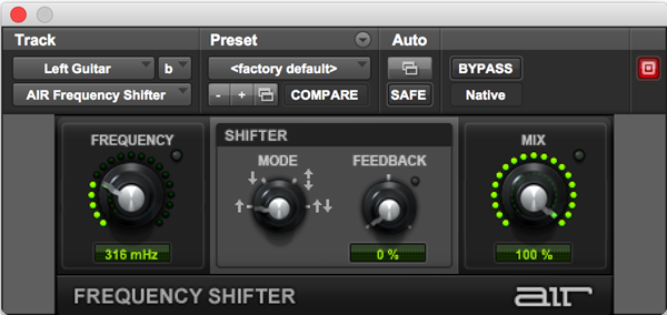 AIR Frequency Shifter effects audio plugin for Pro Tools