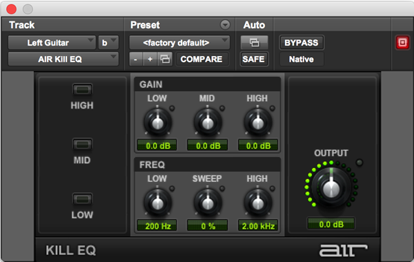 AIR Kill EQ plugin for Pro Tools