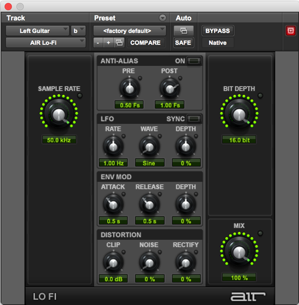 AIR Lo-Fi effects audio plugin for Pro Tools music software