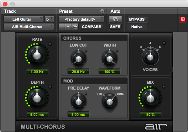 AIR MultiChorus effects plugin for multiple voices