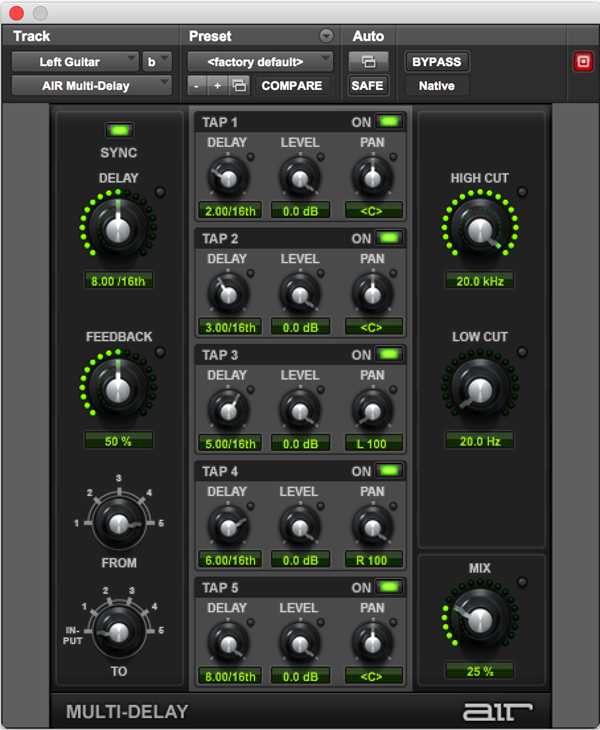 AIR MultiDelay plugin for Pro Tools