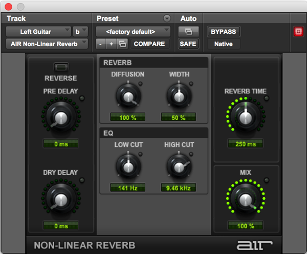 AIR Nonlinear Reverb effects plugin for Pro Tools