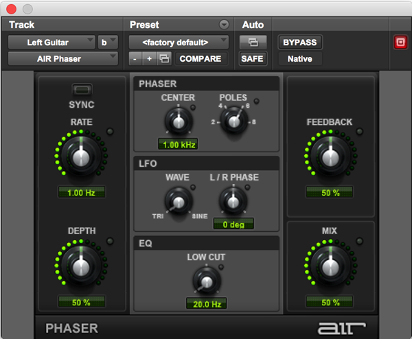 AIR Phaser plugin for audio software