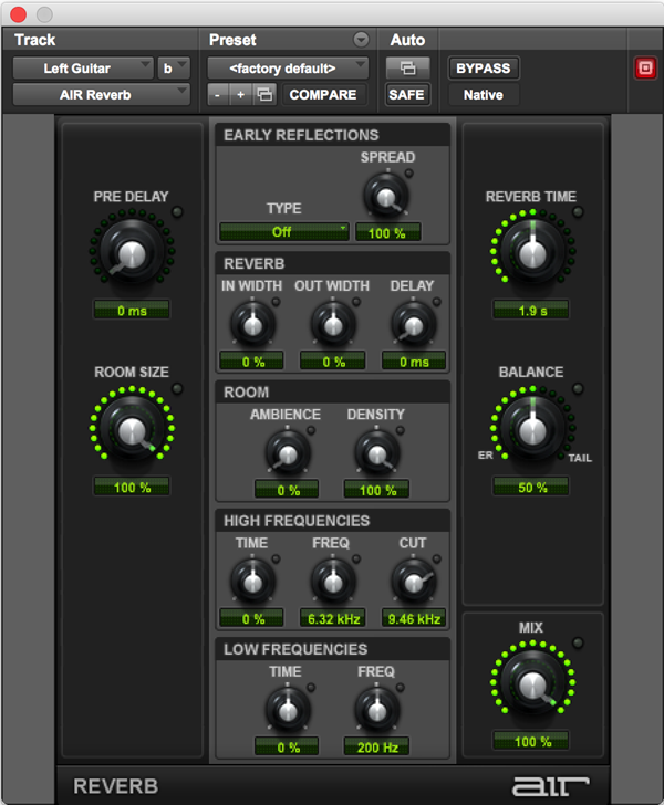 AIR Reverb plugin for natural ambient sounds