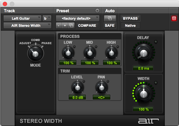 AIR Stereo Width audio plugin for width and delay effects