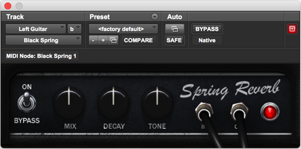 Black Spring Fender Spring Reverb audio plugin for Pro Tools