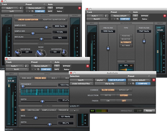 D-fi bundle of audio plugins for Pro Tools including Lo-Fi, Recti-Fi, Sci-Fi, and Vari-Fi
