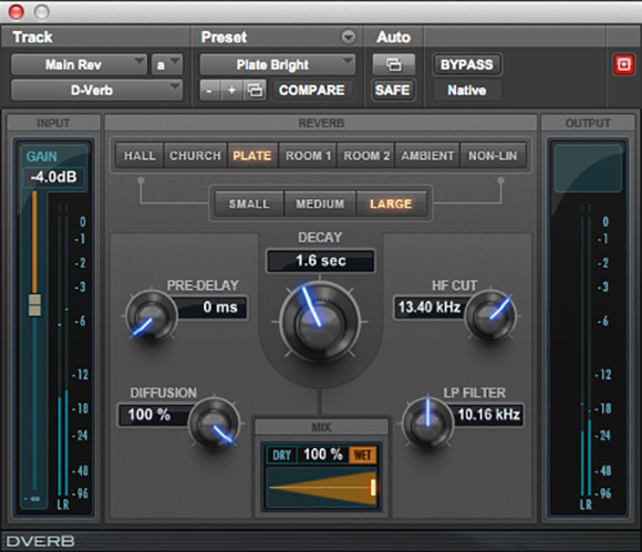 D-Verb studio quality reverb plugin for Pro Tools