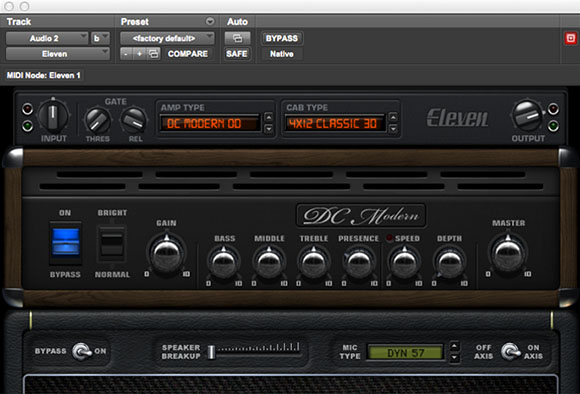Eleven guitar and bass amp audio plugin interface