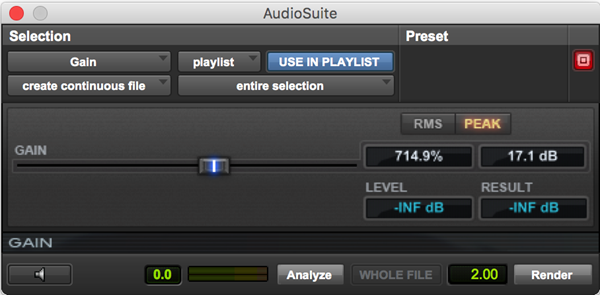 Gain plugin for Pro Tools